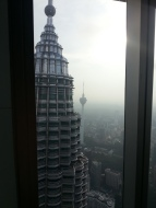 From one tower, looking at the other and the KL tower in the background