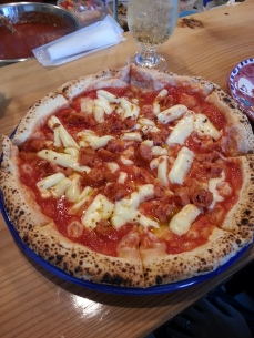 We ordered the special, which has Japanese sausage on it, mozzarella and red pepper.