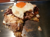 Okonomiyaki - cut into so you can see inside