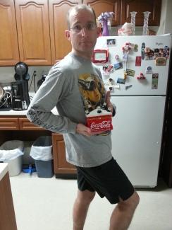 My husband modelling the Coke thingy. haha