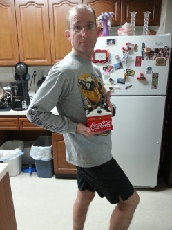 My husband modelling the Coke thingy. haha