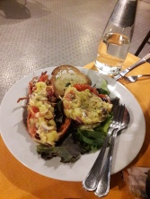 A wonderful lobster salad appetizer.